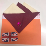Cream & Burgundy Pocket Hankie With Burgundy Flap & Pin